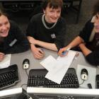Logan Park High School pupils (from left) Ashleigh Brewer, Joseph Grigg and Joel O'Shea (all 17)...