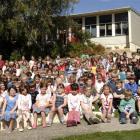 Macandrew Bay School principal Bernadette Newlands lines up her growing brood of pupils. Photo by...