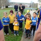 Macraes-Moonlight pupils quiz the visiting Highlanders  at the school yesterday.