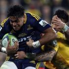 Malakai Fekitoa of the Highlanders on the charge during the Super Rugby Final match between the...
