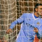 Manchester City's Edin Dzeko celebrates against Wolverhampton Wanderers during their League Cup...