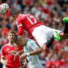 Manchester United's Chris Smalling (12) in action with Newcastle United's Aleksandar Mitrovic....