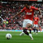 Manchester United's Nani shoots to score against Aston Villa during their Premier League match at...