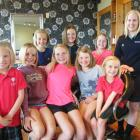 Maniototo pupils (front row, from left) Chloe McAuley (6), of Ranfurly, Briar Duncan (10), of...