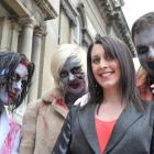 Marking the upcoming world premiere of I Survived a Zombie Holocaust in Dunedin yesterday are ...