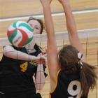 Marlborough Girls College defenders Haley Mallard (left) and Katie Cunningham attempt to stop a...