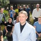 Martin Freeman, centre, who will play Bilbo Baggins, with other cast members of 'The Hobbit', in...