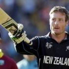 Martin Guptill acknowledges the crowd as he leaves the field at the end of the New Zealand...