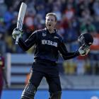 Martin Guptill celebrates reaching 200 against the West Indies in their World Cup quarterfinal in...