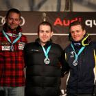 Matt Hallat of Canada, Adam Hall of New Zealand and Mitchell Gourley of Australia pose on the...