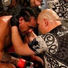 Matt Toa consoles Apii Taia after calling a halt to his ISKA NZ pro heavyweight title fight...