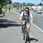 Matthias Rades (17), of Dunedin, cycles towards the city along the Portsmouth Dr shared path...