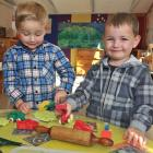 Max Doherty (left, 3) and Fletcher Wilson (3), both of Lee Stream, at the Outram Playcentre last...