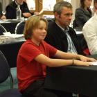 Max Rayner (12) gives evidence at the Nevis river hearing in Cromwell yesterday. Next to him is...