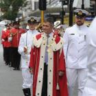 Mayor Dave Cull inspects the crew with HMNZS Otago Lieutenant-commander Rob McCaw, at the charter...