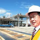 Mayor Peter Chin surveys progress at the new Forsyth Barr Stadium. Photo by NZPA.