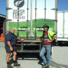 McLellan Freight Ltd owner Alex McLellan (left) and truck driver Gary Cross with the trailer  on...