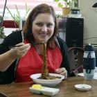 Me eating the famous dish Jjajangmyeon.