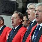 Members of the Dunedin RSA choir sing at the  parade reception at the Dunedin Railway Station....