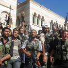 Members of the Free Syrian Army are seen in Azzaz, Aleppo province. REUTERS/Shaam News Network...
