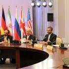 Members of the Iranian delegation, led by Supreme National Security Council Secretary and chief...
