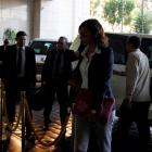 Members of the Organisation for the Prohibition of Chemical Weapons return to their hotel in...