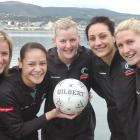 Members of the Silver Ferns netball team relax in Dunedin yesterday. Photo by Peter McIntosh.