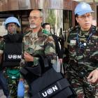 Members of the United Nations observers mission in Syria leave a hotel in Damascus, and head to...