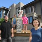 Michael Beazley, with (from left) daughters Portia (9), Alyssa (10) and wife Deborah Wai Kapohe,...