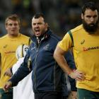 Michael Cheika (middle) prior to the Wallabies recent Bledisloe Cup match with New Zealand.