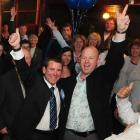 Michael Woodhouse celebrates National's victory. Photo by Craig Baxter.