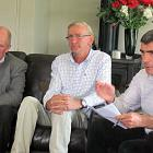 Minister for Primary Industries Nathan Guy (right)  talks with farmers during a fact-finding...