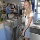 Moana Pool lifeguard Rosie Hodson (20), of Dunedin, makes her way through the pool's new swipe...