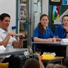 Motivational speaker and author William Pike answers questions from Queenstown Primary School...