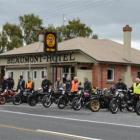 Motorcyclists line up outside the Beaumont Hotel during the South Otago branch of the Vintage Car...