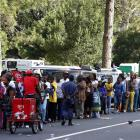 Mourners queue outside the Union Buildings where the coffin of former South African President...