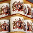 Mugs commemorating the forthcoming marriage of Britain's Prince William to Kate Middleton, are...