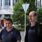Murder accused David Bain [right] with supporter Joe Karam in the Exchange, Dunedin, yesterday....