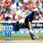 New Zealand's Nathan McCullum is run out against Sri Lanka. Photo by Getty