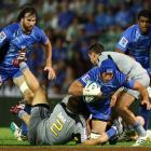 Nathan Sharpe of the Force pushes forward during the round three Super Rugby match between the...