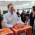 National Party leader John Key votes