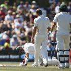 Neil Wagner (C) checks on Australia's Steve Smith after hitting him on the helmet with a short...