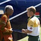 Nelson Mandela (Morgan Freeman) and Francois Pienaar (Matt Damon) in 'Invictus', a film about the...