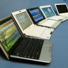 Netbooks by (from left) Dell, Asus, Acer, MSI and Lenovo.