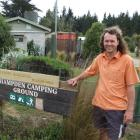 New co-owner Alex Beley at the entrance to the renamed Moeraki Boulders Holiday Park, Hampden....
