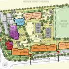 New plans for Shotover Primary School show stage one and two, coloured red, dark purple and dark...