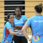 New Southern Steel coach Noeline Taurua (left) works with goal shooters Jhaniele Fowler-Reid ...