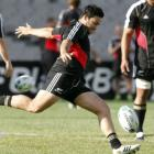 New Zealand All Blacks' Piri Weepu kicks for touch during the All Blacks Captain's run ahead of...