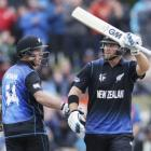 New Zealand batsman Corey Anderson (right) celebrates his 50 runs alongside teammate Luke Ronchi...