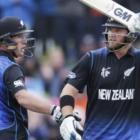 New Zealand batsman Corey Anderson (right) celebrates his 50 runs alongside teammate Luke Ronchi...